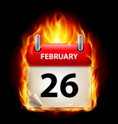 twenty-sixth february in calendar burning icon on vector image vector image