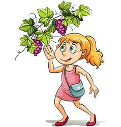A girl and a grapevine vector