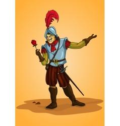 Handsome man conquistador with rose orange vector image