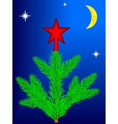 Star on Christmas tree vector image