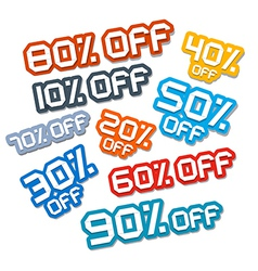 Colorful Paper Cut Discount Stickers Labels Set vector image