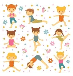 Cute yoga kids vector image vector image