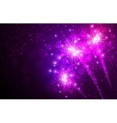 Festive lilac firework background vector image