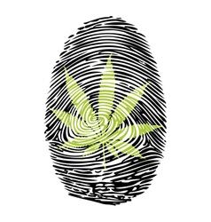 Fingerprint-Marijuana-print vector image vector image