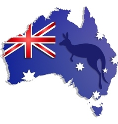 Happy Australia day lettering Map of with flag vector image vector image