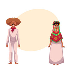 Mexican man and woman in traditional casual vector