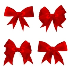 Shiny red satin bow Set EPS 10 vector image vector image