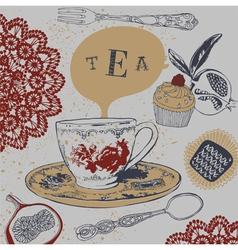 Tea Cupcakes vector image vector image