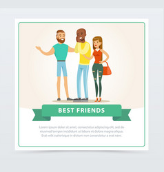 tree friends having fun at meeting best friends vector image vector image