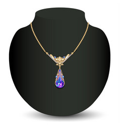 a golden necklace female with white precious vector image vector image