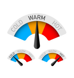 cold warm and hot temperature gauge vector image vector image