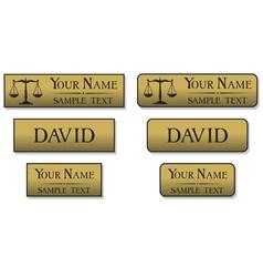 engraved metal name badges vector image