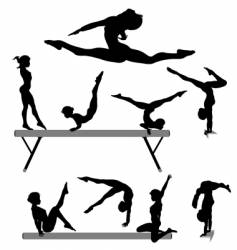 female gymnast silhouettes vector image vector image