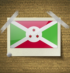 Flags Burundi at frame on a brick background vector image