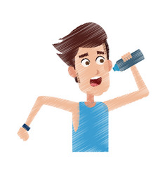 Man drinking water while running icon image vector