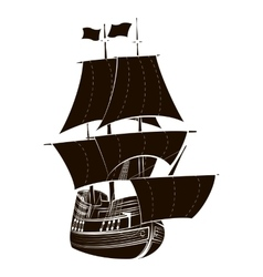 Silhouette sailboat vector image