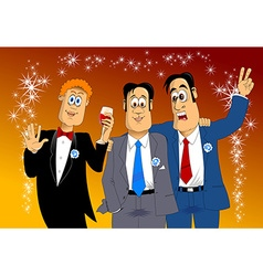 three friends at a party vector image vector image