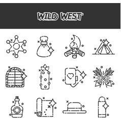 wild west cartoon concept icons vector image vector image