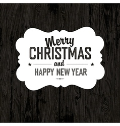 xmas label on wooden board vector image vector image