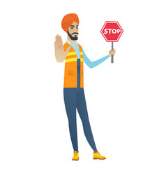young hindu builder holding stop road sign vector image vector image