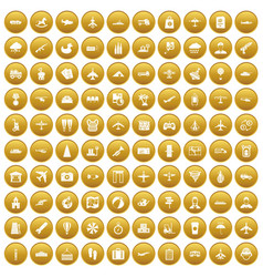 100 plane icons set gold vector