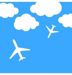 Abstract background with airplanes and clouds vector image