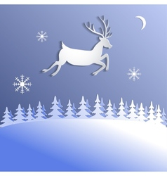 Abstract background with paper cut deer vector