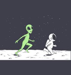 Alien plays with astronaut vector