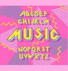 alphabet 90 s retro font vector image