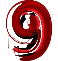 Artistic font number 9 vector image