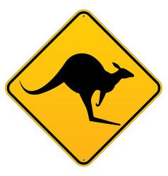 australian kangaroo roadsign vector image