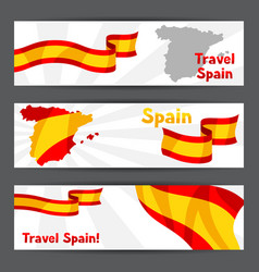 banners with flag and map of spain spanish vector image