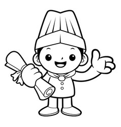 black and white happy cook mascot receive a vector image