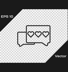 Black line like and heart icon isolated on vector
