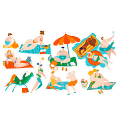 body positive people on beach with overweight fat vector image