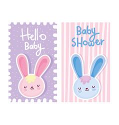 Boy or girl gender reveal hello baby cute rabbits vector