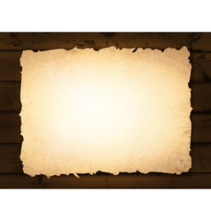 Burnt paper at wooden background vector