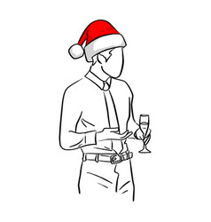 Businessman with red santa hat holding glass in vector