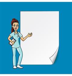 Cartoon doctor blank paper vector