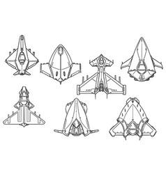 cartoon set spaceship spacecraft designs vector image