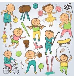 Cartoon sport players doodle character vector