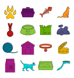 Cat care tools icons doodle set vector
