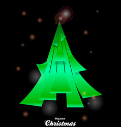 christmas tree over black glowing background vector image