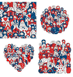 collection of russian nesting dolls matryoshka vector image