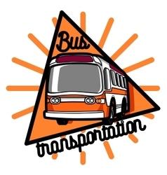 Color vintage bus transportation emblem vector