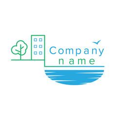 Contour logo for a construction company vector