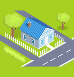 cottage two storey house side view with fence vector image