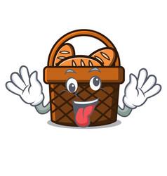 crazy bread basket mascot cartoon vector image