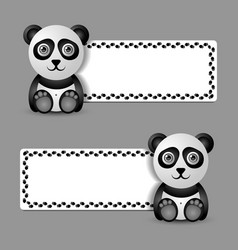 cute and funny panda character with banner vector image