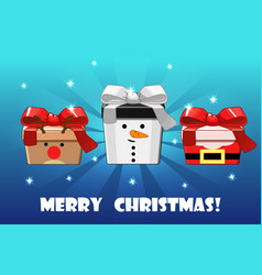 cute christmas different gifts snowman deer vector image